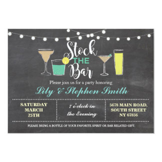 Stock The Bar Chalk Engagement Cocktails Party Card