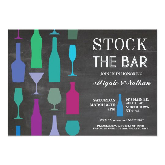 Stock The Bar Chalk Navy Bottles Party Invitation