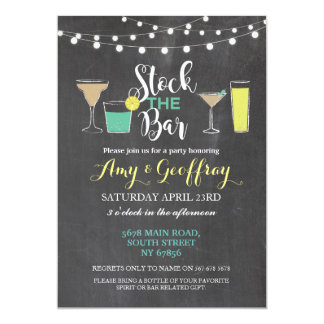 Stock The Bar Chalk Party Couple's Shower Card