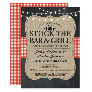 Stock The Bar & Grill Engagement Party Invitation