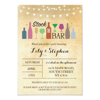 Stock The Bar Lights Party Engagement Invitation
