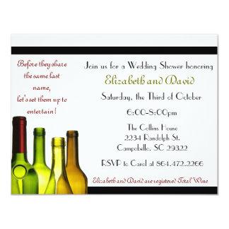 "Stock the Bar Shower, Wine Bottle 4.25"" X 5.5"" Invitation Card"