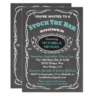 Stock the bar wedding shower invitation