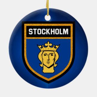 Stockholm Flag Round Ceramic Ornament