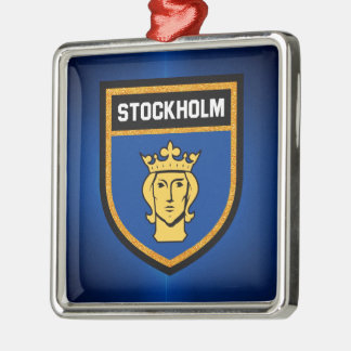 Stockholm Flag Silver-Colored Square Ornament