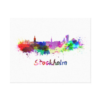 Stockholm skyline in watercolor canvas print