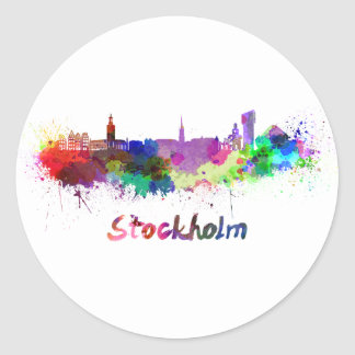Stockholm skyline in watercolor classic round sticker