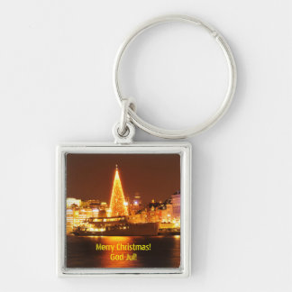 Stockholm, Sweden at Christmas at night Keychain