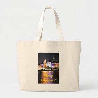Stockholm, Sweden at Christmas at night Large Tote Bag