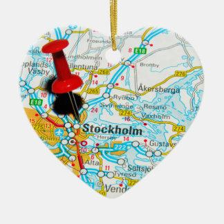Stockholm, Sweden Ceramic Heart Ornament