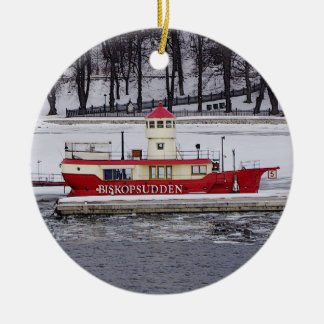 Stockholm Sweden Lightship Biskopsudden Birthday Round Ceramic Ornament