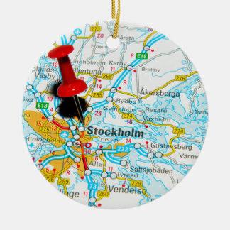 Stockholm, Sweden Round Ceramic Ornament