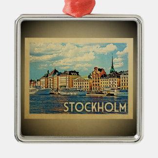 Stockholm Sweden Vintage Travel Ornament