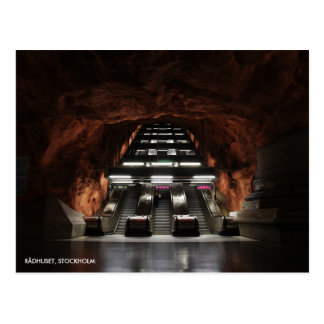 Stockholm Underground I, with Station Text Postcard