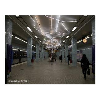 Stockholm Underground II with City Text Postcard
