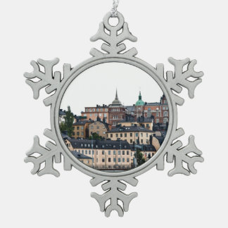 Stockholm view snowflake pewter christmas ornament