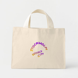 Stockholm world city, colorful text art mini tote bag