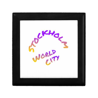 Stockholm world city,  colorful word art gift box