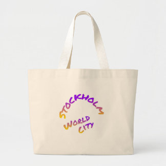 Stockholm world city,  colorful word art large tote bag