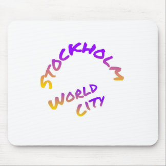 Stockholm world city,  colorful word art mouse pad