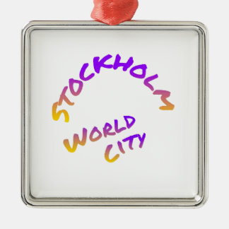 Stockholm world city,  colorful word art Silver-Colored square ornament
