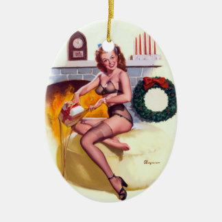 Stocking Stuffer Pin Up Ceramic Ornament