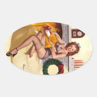 Stocking Stuffer Pin Up Oval Sticker