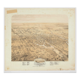 Stockton, CA Panoramic Map 1870 (1667A)-Unrestored Poster