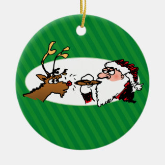 Stogie Smoking Santa Funny Green Holiday Ornament