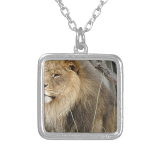 Stoic Lion Looking Off into the Distance Silver Plated Necklace