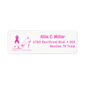 Stomp Out Breast Cancer Pink Ribbon Return Address Label
