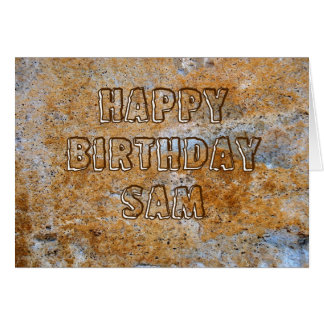 Stone Age Happy Birthday Sam Card