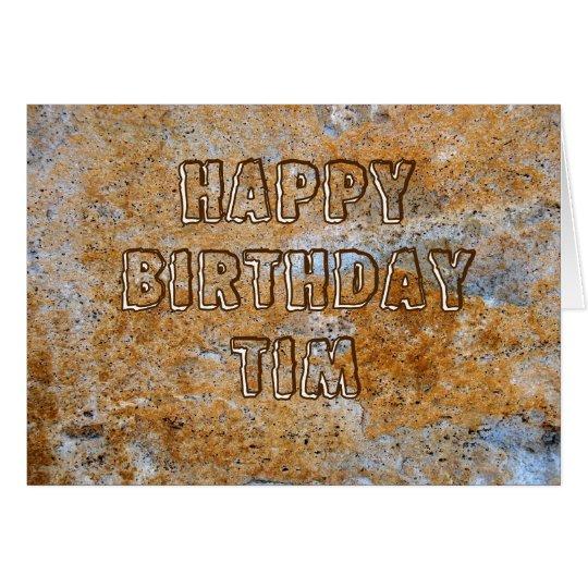 Stone Age Happy Birthday Tim Card