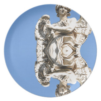 Stone angel in Rome, Italy Plate