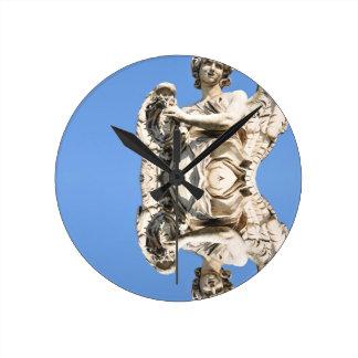 Stone angel in Rome, Italy Round Clock