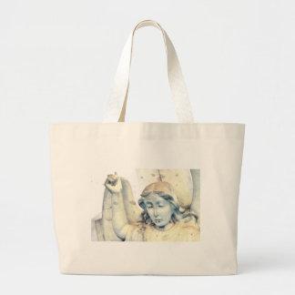 Stone angel portrait large tote bag
