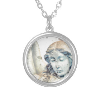 Stone angel portrait silver plated necklace