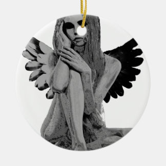 Stone angel round ceramic ornament