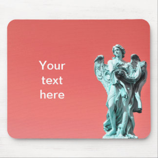 Stone angel statue mouse pad