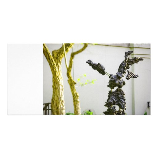 Stone Angel Statue Personalized Photo Card