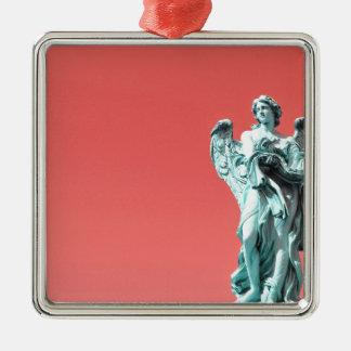 Stone angel statue Silver-Colored square ornament