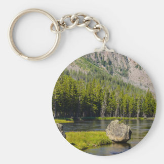 Stone At Madison River Basic Round Button Keychain