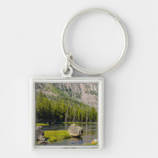 Stone At Madison River Silver-Colored Square Keychain