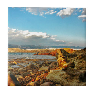 Stone beach on the island Pag in Croatia Ceramic Tile