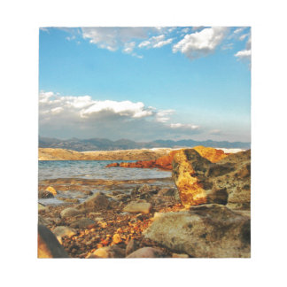 Stone beach on the island Pag in Croatia Notepad