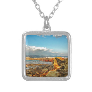 Stone beach on the island Pag in Croatia Silver Plated Necklace
