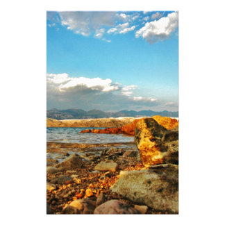 Stone beach on the island Pag in Croatia Stationery