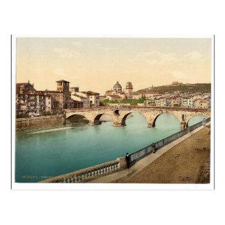 Stone bridge and San Giorgia, Verona, Italy classi Postcard