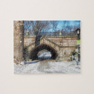 Stone Bridge - Central Park in Winter Jigsaw Puzzle