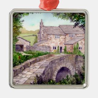 Stone Bridge Watercolor Painting Metal Ornament